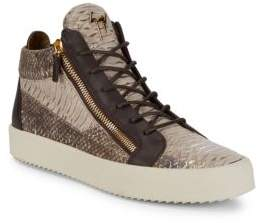 Giuseppe Zanotti Croc-Embossed Patent Leather Sneakers