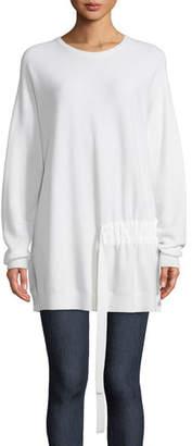 Tibi Crewneck Long-Sleeve Shirred-Side Wool Pullover Tunic Sweater