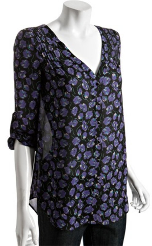 Shoshanna purple floral print silk pin-tucked blouse