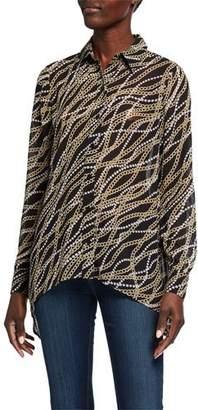 MICHAEL Michael Kors Chain Long-Sleeve Button-Down Handkerchief Hem Top