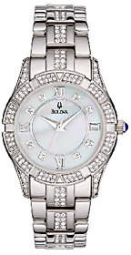 Bulova Ladies Stainless Steel Crystal AccentedBracelet Watch