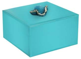 Jay Import Small Peacock Agate Detail Jewelry Box