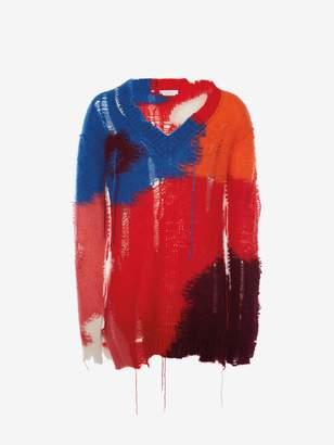 Alexander McQueen Distressed Mohair Intarsia V-Neck Sweater