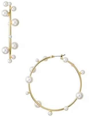 Rebecca Minkoff Floating Simulated Pearl Hoop Earrings