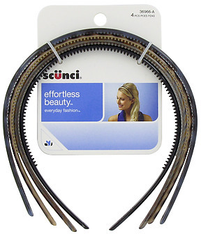 Scunci 4pk Thin Plastic Headbands