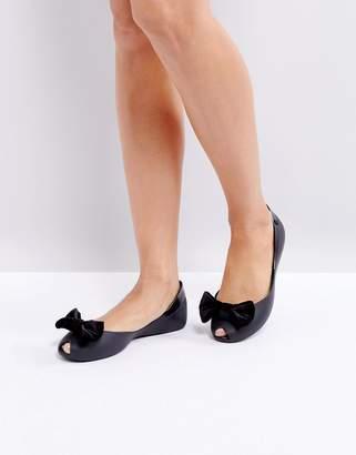 Melissa Velvet Bow Flat Shoe