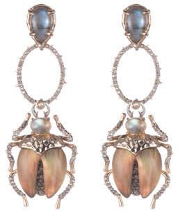Alexis Bittar Crystal Encrusted Dangling Scarab Earrings
