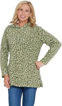 Denim & Co. Regular Animal Print Fleece Tunic w/ Hood and Pockets