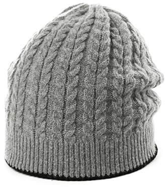Jeff & Aimy Wool Knit Slouch Beanie Skull Cap Ladies Winter Hats Outdoor Hats Sports Snowbording Hats Grey 56-60CM