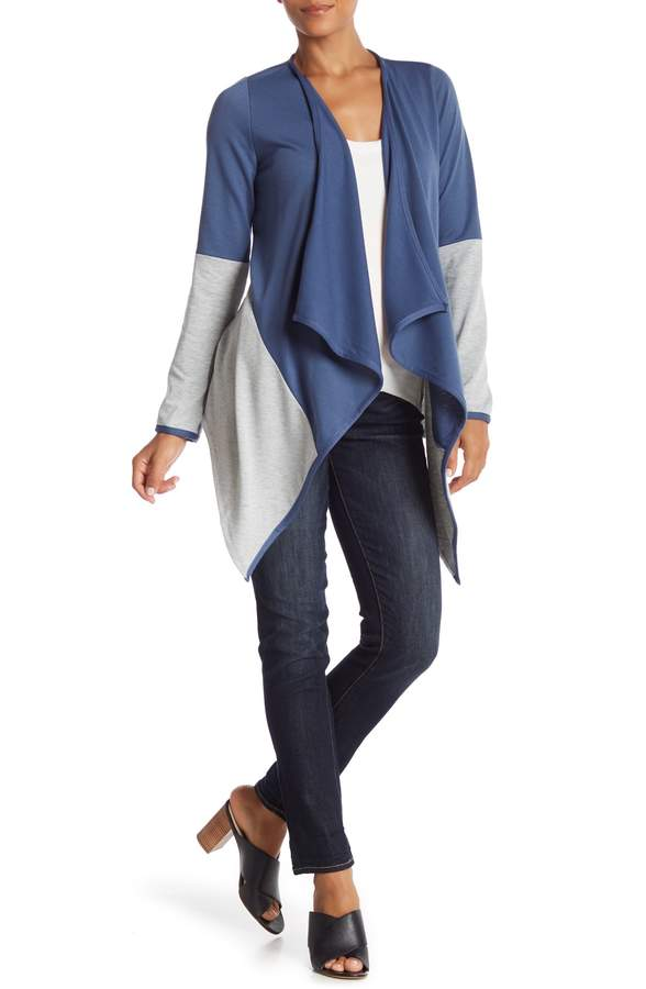 PinkBlush Maternity Colorblock Open Faced Draped Long Sleeve Cardigan (Maternity)