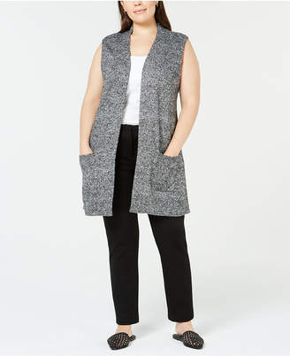 Karen Scott Plus Size Marled Duster Sweater Vest