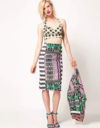 Asos Pencil Skirt In Block Print