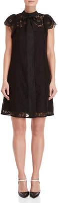 Nanette Lepore Nanette Tie-Neck Lace Shift Dress