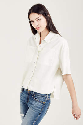True Religion BUTTON FRONT CROPPED WOMENS SHIRT