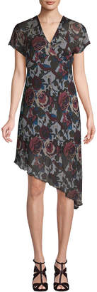 Anna Sui Asymmetric Floral Shift Dress