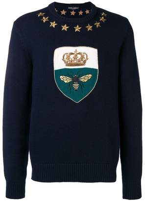 Dolce & Gabbana crown & bee embroidered jumper