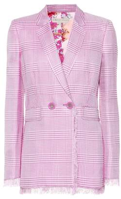 Emilio Pucci Glen plaid blazer with fringe