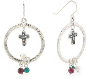Made In Israel Sterling Silver Cross Gemstone Earrings