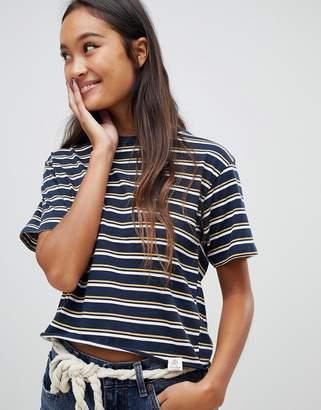 Pull&Bear stripe oversized t-shirt in navy
