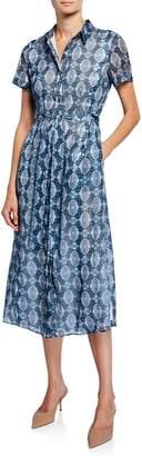 T Tahari Mosaic Short-Sleeve Button-Down Dress with Self-Tie Belt
