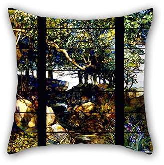 Tiffany & Co. slimmingpiggy Oil Painting Louis Comfort A Wooded Landscape In Three Panels Cushion Cases Two Sides Is Fit For Deck Chair Christmas Saloon Car Festival Club