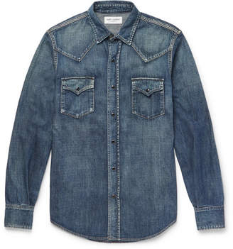 Saint Laurent Slim-Fit Washed-Denim Western Shirt - Indigo