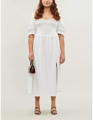 Reformation Marabella linen midi dress extended sizing
