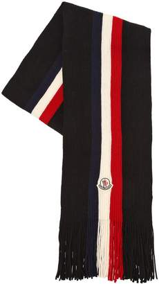 Moncler Tricolor Logo Wool Scarf