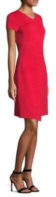 St. John Asymmetrical Overlay Knit Dress