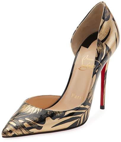 Christian Louboutin  Christian Louboutin Iriza Palm-Print Red Sole Pump, Black/Gold