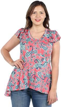 24/7 Comfort Apparel 24Seven Comfort Apparel Scout Hi Lo Pink Ruffle Sleeve Plus Size Tunic TopL