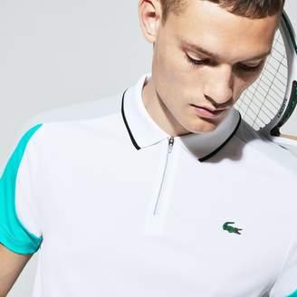Lacoste Men's SPORT Zip Neck Contrast Bands Pique Tennis Polo