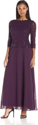 Alex Evenings Women's Long Mock Dress with Sequin Lace Bodice and Illusion 3/4 Sleeves