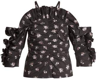 Rebecca Taylor Cut-out shoulder floral fil coupé top