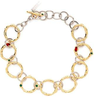 Marni Crystal Embellished Chain Link Necklace - Womens - Gold