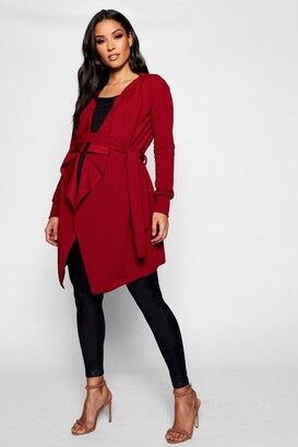 boohoo Maternity Waterfall Belted Duster Jacket