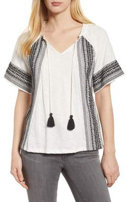 Caslon Embroidered Border Peasant Top (Regular & Petite)
