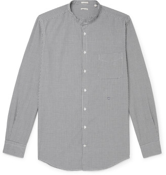 Massimo Alba Slim-Fit Grandad-Collar Micro-Checked Cotton Shirt