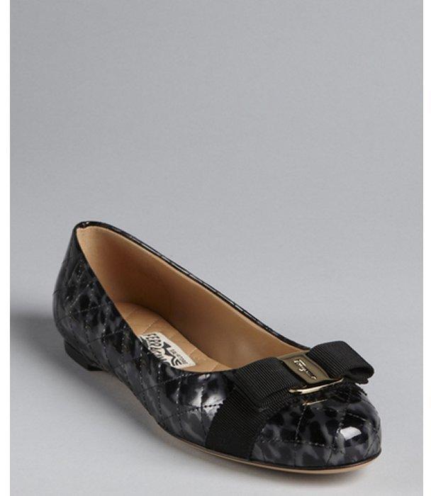 Salvatore Ferragamo black leopard print quilted patent leather 'Varina' grosgrain bow flats