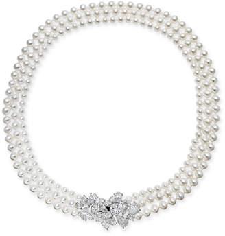 "Swarovski Danori Silver-Tone Crystal Cluster Imitation Pearl Three-Strand 17"" Collar Necklace, Created for Macy's"