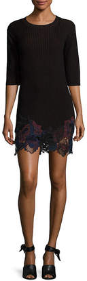 3.1 Phillip Lim Lace Embroidered Wool Blend Bodycon Dress