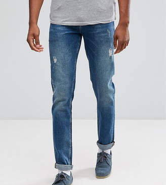 Asos DESIGN TALL Stretch Slim Jeans In Dark Wash Vintage With Abrasions