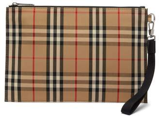 Burberry Checked Cotton Blend Canvas Pouch - Mens - Beige Multi
