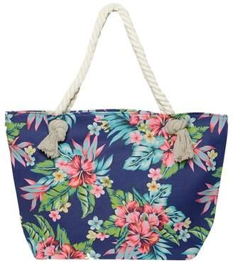 Dorothy Perkins Blue Tropical Print Shopper Bag