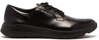 Prada Rubber Sole Leather Derby Shoes - Mens - Black