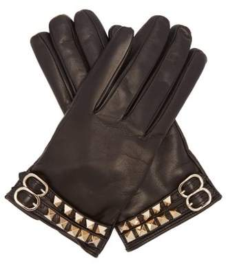 Valentino Rockstud Leather Gloves - Womens - Black