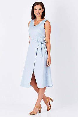 NEW bird by design Womens Calf Length Dresses The Front Wrap Dress ChalkBlue