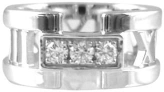 Tiffany & Co. & Co.18K White Gold Atlas 3 Diamond Open Wedding Band Ring