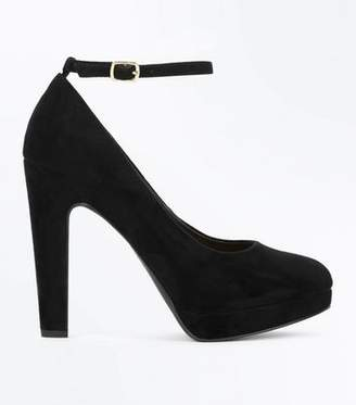 New Look Wide Fit Black Platform Round Toe Heels