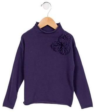 Il Gufo Girls' Wool Floral Sweater